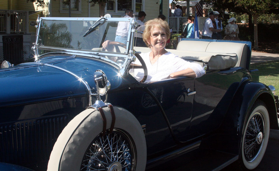 Helen Ofield in a 1929 Hupmobile convertible